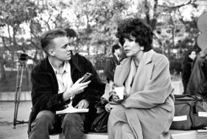 Matthew Hays (L) interviewing Joan Collins, 1995.