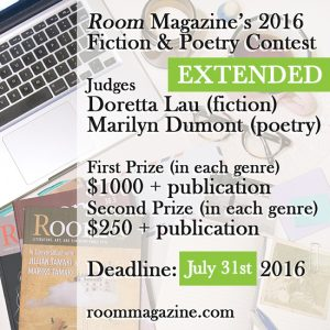 Room Magazine's Annual Poetry and Writing Contest @  |  |  |