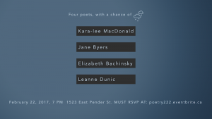 Poetry, with a Chance of Rain: Kara-lee MacDonald, Jane Byers, Elizabeth Bachinsky, Leanne Dunic @ Notional Space |  |  |