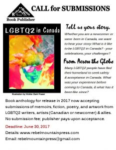 SUBMISSION CALL: Book anthology LGBTQ2 in Canada @ All Canadian or Landed Immigrant LGBTQ2 |  |  |