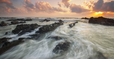 Waves moving toward a beach
