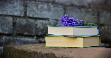Books with purple flowers